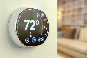 smart-thermostate-mounted-on-wall